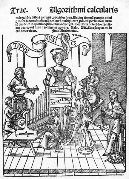 Title page of a music book, 1517.A woman supervises an ensemble of musicians. Date: 1517