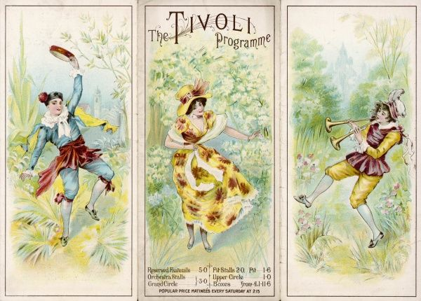 The cover of a programme for the Tivoli Music Hall, on The Strand, London