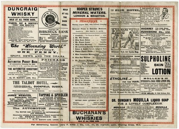 The inside pages of a programme for the Tivoli Theatre, London. Included on the bill is Little Tich, the comedian who starred at this theatre for 17 years. Date: August 1902