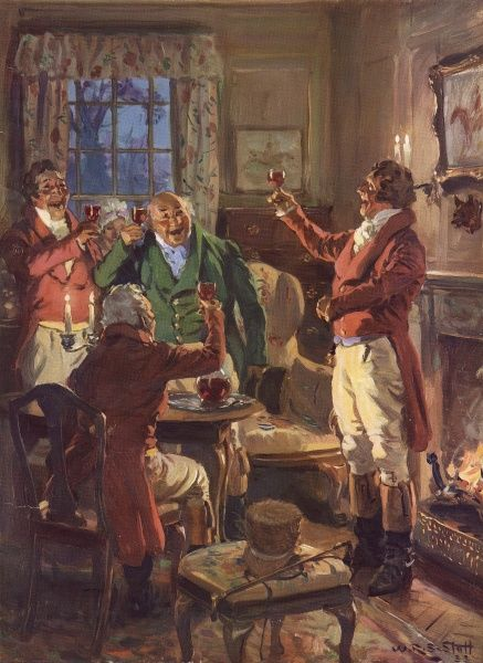 An early 19th century scene showing four jovial gentlemen raising a toast in front of a blazing fire. Date: 1936