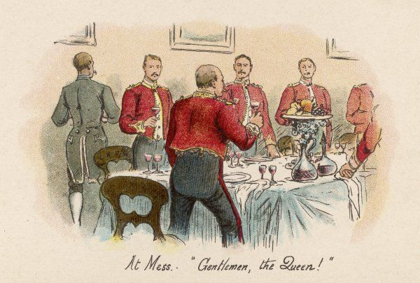 Officers stand to drink a loyal toast to Queen Victoria in the Regimental Mess