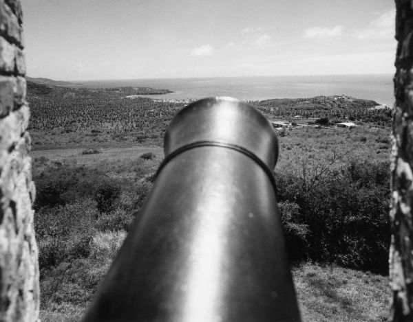 A cannon at Fort King George, Tobago, West Indies. Date: 1960s