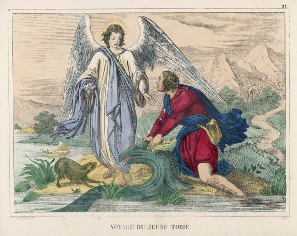 Tobias, while travelling, meets a helpful angel