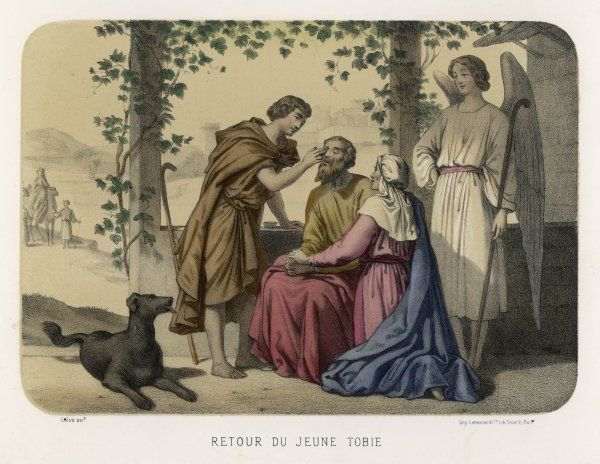 Tobit's sight is restored thanks to a friendly angel his son Tobias happened to meet while journeying