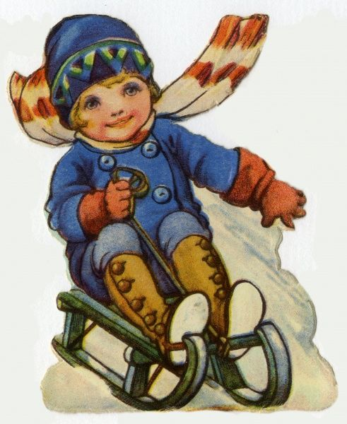 Tobogganing. Artist: Ada Leonora Bowley. On a toboggan going downhill fast Date: circa 1920