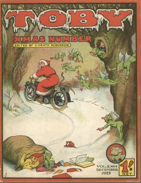 Front cover illustration for 'Toby' children's magazine or comic, featuring Father Christmas driving through snow on a motobike. He is being alerted to a dropped sack of toys and presents by some sprites or pixies