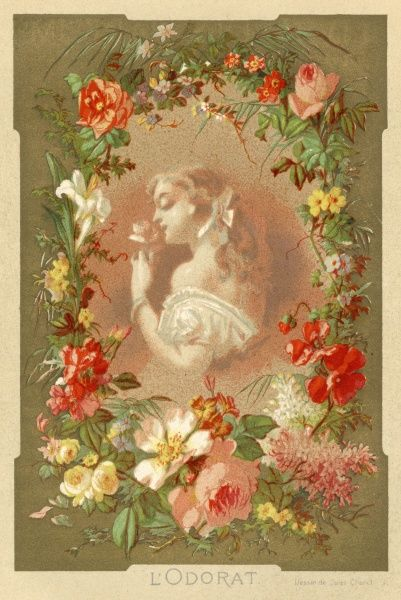 Lady surrounded by flowers, and enjoying the scent of one which she is holding in her hand