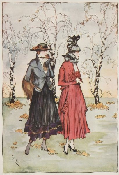 Two women dressed in the latest Parisian fashions for October