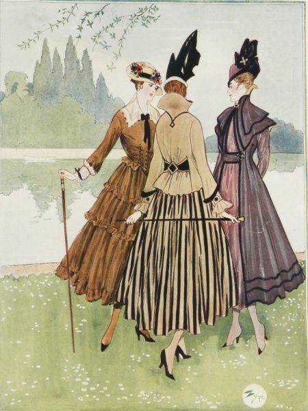 Three elegant ladies model the latest Parisian spring fashions against the backdrop of a park lake
