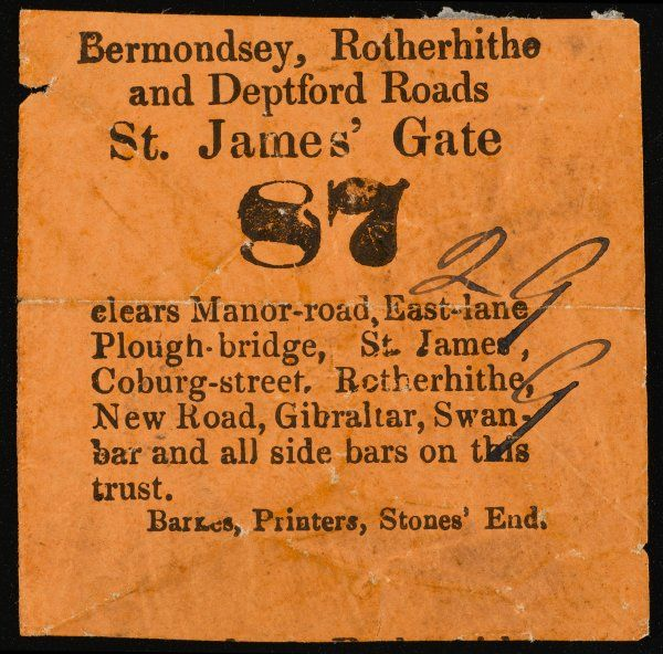 Tollgate ticket for St James' Gate, for the Bermondsey, Rotherhithe and Deptford Roads, Southeast London - probably abolished in 1864 along with many others