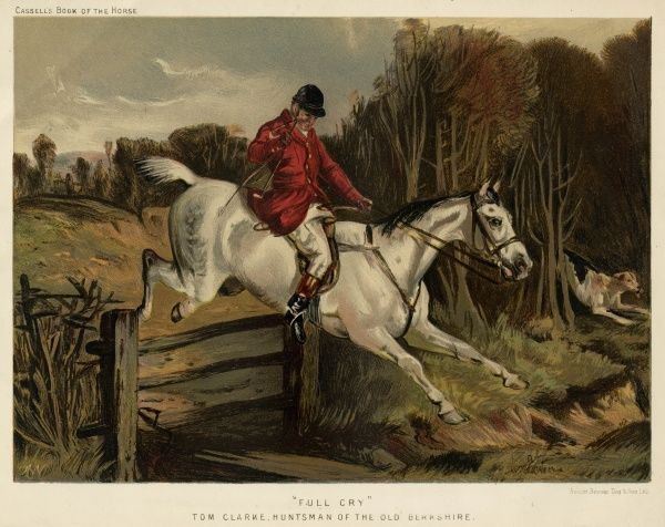 Full Cry -- Tom Clarke, Huntsman of the Old Berkshire, jumping a fence during a fox hunt. Date: 1870s