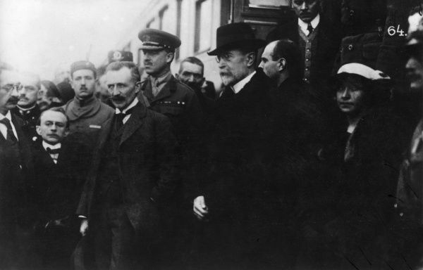 Tomas Garrigue Masaryk (1850-1937), Austro-Hungarian and Czechoslovak politician, founder and first President of Czechoslovakia. Seen here being welcomed on his arrival at Prague's Wilson (Wilsonovo) Station. Date: 21 December 1918