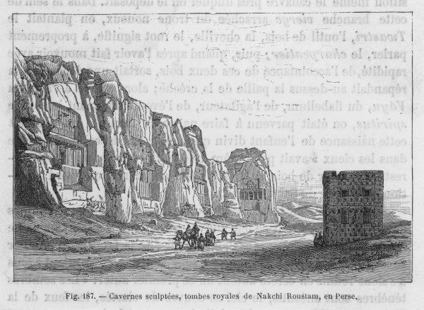 The rock cut tombs of Naqsh-i Rustam, close to the citadel of Persepolis. Here can be found the tombs of Darius I, Xerxes, Artaxerxes I and Darius II