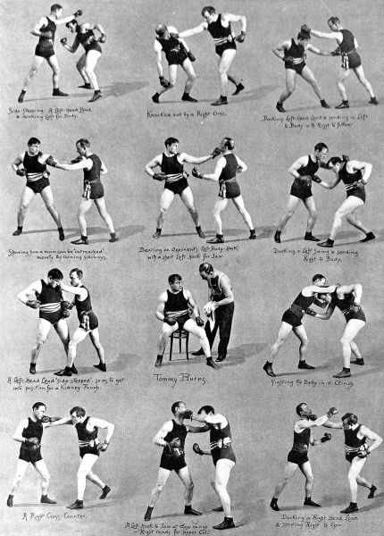 Series of photographs showing Tommy Burns (1881-1955), the Canadian heavyweight boxer, boxing with a sparring partner, 1908. Burns was World Heavyweight Champion between 1906 and 1908