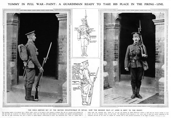 A Guardsman ready to take his place in the firing - line. The field service kit of the British infantryman in detail, with diagram. Date: 1914