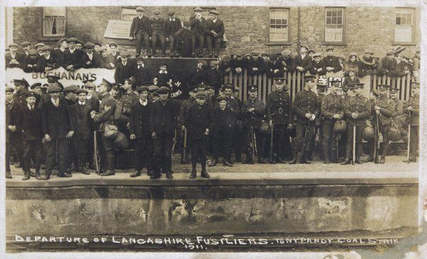 TONYPANDY COAL STRIKE Lancashire fusiliers waiting to depart for Tonypandy