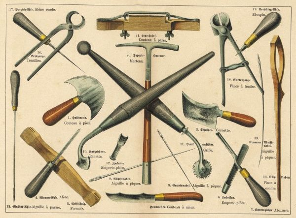 Various tools used by a saddler and upholsterer, including pliers, pincers, skewers, needles and a knife