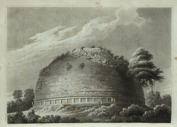 Tope of Maunikyaula. A tope is the Hindi word for a stupa or a structure where Buddhist relics are kept.  1815