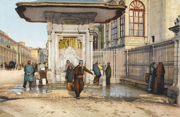 The Tophane Cesmesi Fountain - one of the most famous of the baroque street fountains in the city. Built in 1732 by Mahmut I. Has marble walls, covered by floral designs and arabesques. Carved in low relief - these reliefs were originally painted and gilded