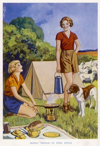 Two short-wearing girl campers enjoy a fry-up of bacon and eggs, with toast and marmalade, tea and coffee for afters