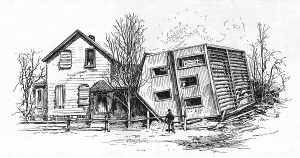 The overturning action of tornadoes on buildings in St. Cloud, Minnesota. The neighbours, who took the precaution of boarding their windows up, seem to have come off better. Date: April 15th 1886