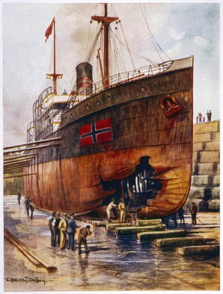 A steamship - torpedoed by the Germans although flying the neutral Norwegian flag - is brought into dry dock for repairs