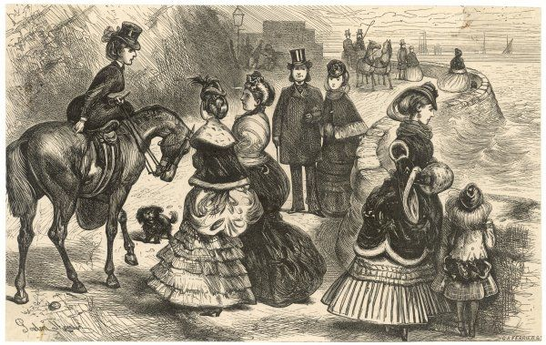 Ladies and gentlemen in their finery promenade along the sea front at Torquay, Devon : some in carriages, some on horseback, others walking with their dogs