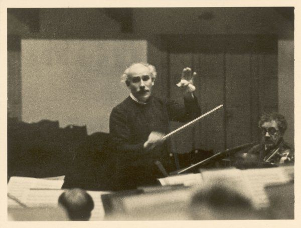 ARTURO TOSCANINI Italian conductor, known for his dynamic style, conducting in 1936