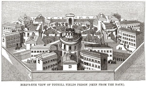 Bird's-eye view of Middlesex House of Correction, Tothill Fields, Westminster Date: 1862