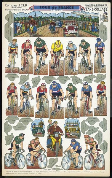 Cut-out figures for a do-it- yourself Tour de France : 18 riders, with follow-up motor-cycle and cars, and a general race scene