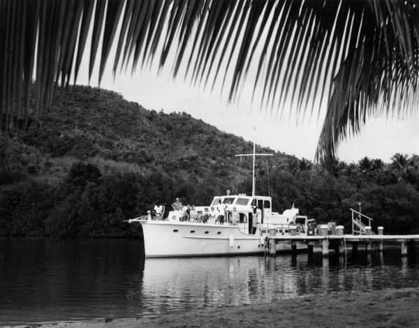 The yacht 'Visitor IV', which takes tourists around the island of St. Lucia, West Indies. Date: 1960s