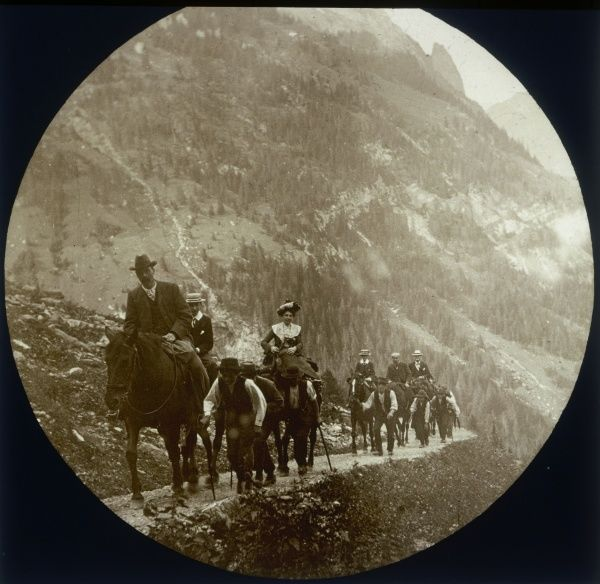 Victorian tourists on horseback, possibly in the Alps