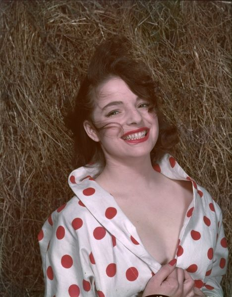Grinning, tousled brunette lies amongst the hay wearing a shirt with enormous red polka dots