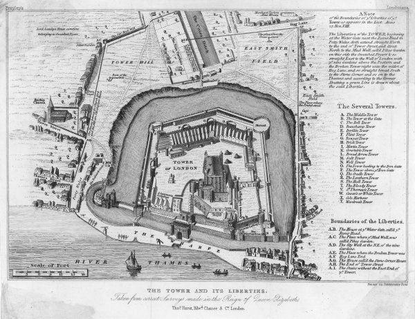 The Tower and its Liberties taken from correct Surveys made in the Reign of Queen Elizabeth