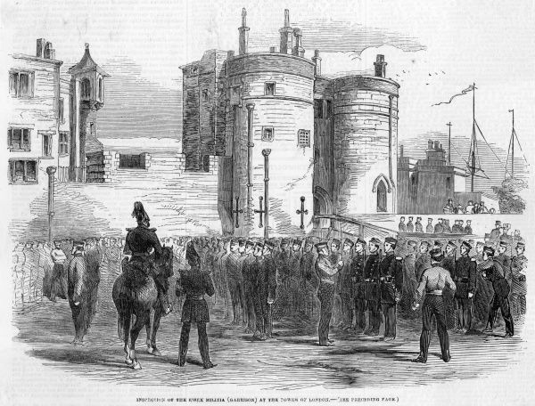 Inspection of militia at the Tower, at the time of the outbreak of the war in the Crimea