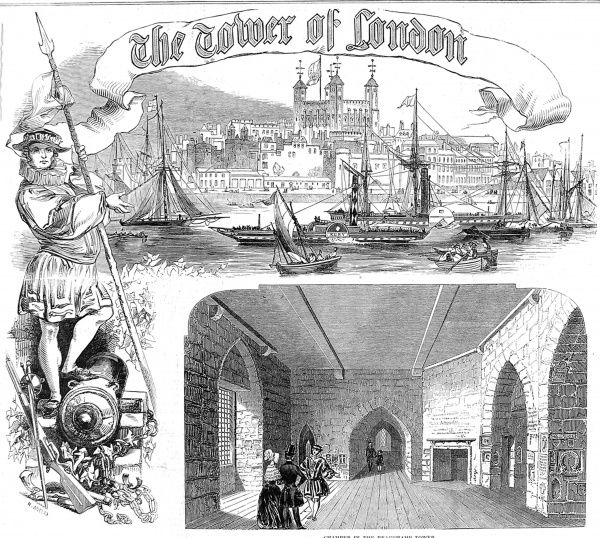 Engraved decorative title, published in the 'Illustrated London News', for an article on the Tower of London, 1848. This image shows the view of the Tower of the south bank of the River Thames, with (at left) a Yeoman Warden of the Tower