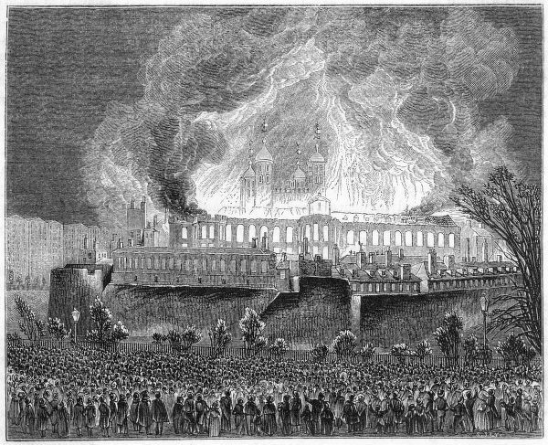 The burning of the Great Storehouse during the disastrous fire