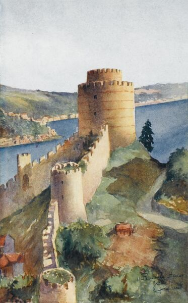 A Tower at the Rumeli Hisari (European Side of Constantinople) looking away from the Black Sea down the Bosphorus
