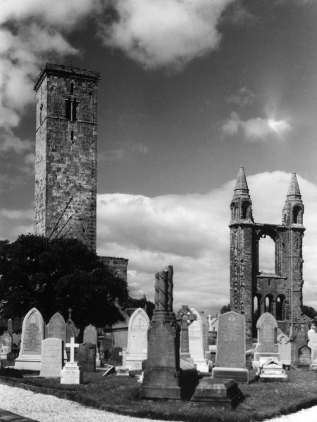 The Tower of St. Rule (or St. Regulus) and the ruins of St. Andrew's Cathedral, Fifeshire, Scotland. Date: founded 1160