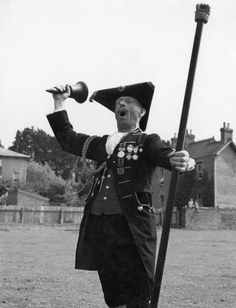 The town crier at Corsham, Wiltshire, England. Date: 1950s