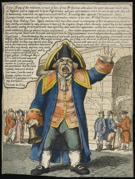 A Town Crier advertises the disappearance of Mr Guinea - an allusion to the inflation caused by the wars with France