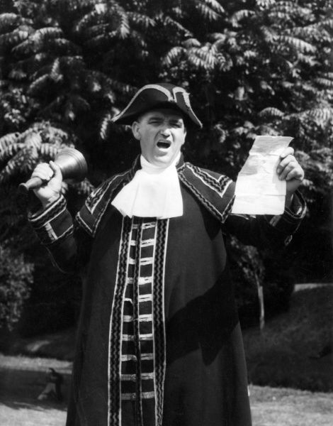 A contestant from St. Columb, Cornwall at the Town Criers' Contest held in Southampton, Hampshire. Date: 1950s