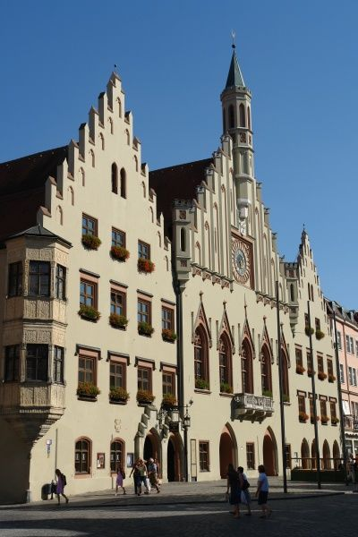 View of the gothic style Town Hall in the city of Landshut, Lower Bavaria, Germany. The building was completed in 1570