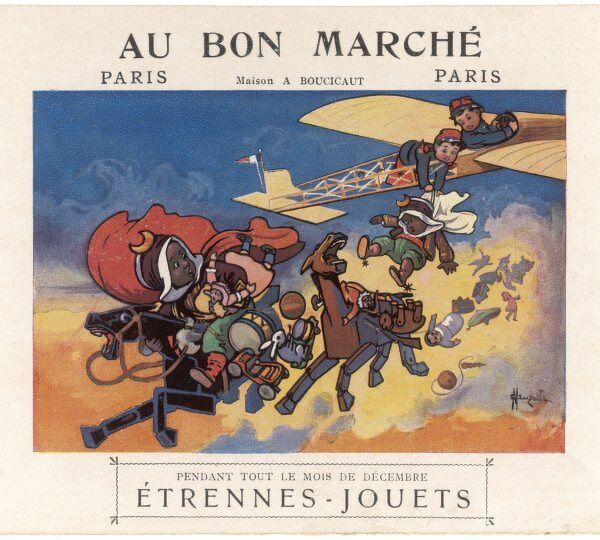 A variety of toys including wooden horses, a model aeroplane and dolls feature in this advertisement for the Bon Marche shop in Paris
