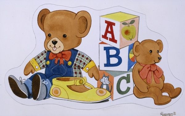 Two toy teddy bears, a pile of A,B,C alphabet blocks and a solitary yellow child's shoe