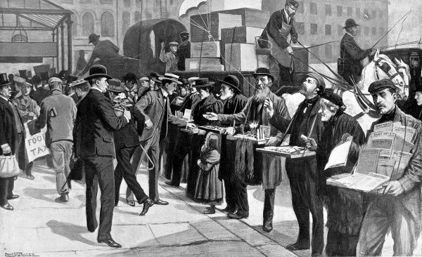 Illustration showing penny toysellers offering their wares outside Farringdon Street Station, London, 1903
