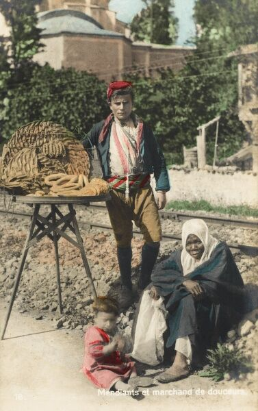 Selling of a selection of sweetbreads at the side of railway track, Turkey