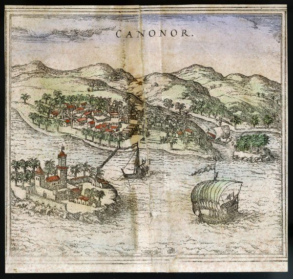 A view of CANONOR, one of the portuguese settlements on the route to Asia. Part of a larger map showing Calechut (Calcutta)/Ormus/Canonor/Mina