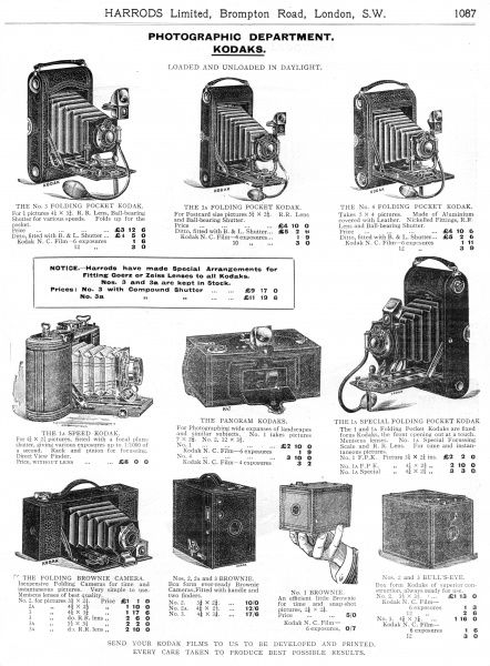 Kodak camera's from the photographic department. Date: 1909