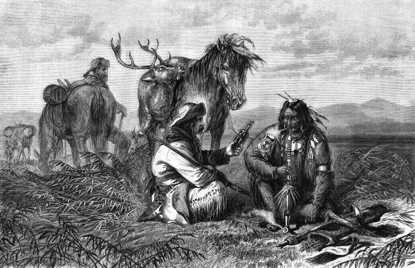 A trader tempts a native Indian with whiskey Date: 1871
